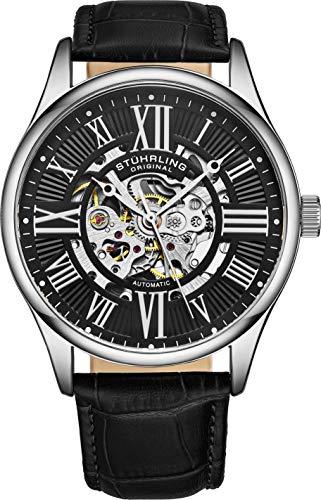 Stuhrling Original Mens Atrium Skeleton Automatic Self Winding Mechanical Dress Watch with Premium Leather Band
