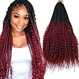 5 Pack Box Braids Crochet Hair Ombre Goddess Box Braids With Curly 24inch Senegalese Twist Synthetic Crochet Braiding Hair Extensions (1b/99j,500g/Lot)