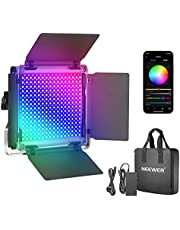 Neewer 530 RGB Led Light with APP Control, 528 SMD LEDs CRI95/3200K-5600K/Brightness 0-100%/0-360 Adjustable Colors/9 Applicable Scenes with LCD Screen/U Bracket/Barndoor, Metal Shell for Photography