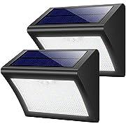 Yacikos Solarleuchten Außen 60 LED Solarlampe mit Bewegungsmelder Solar Wandleuchte Solarlicht Wasserdichte Solar Beleuchtung 3 Modi Solarbetriebene Kabelloses Sicherheitslicht für Gärten(2 Stück)