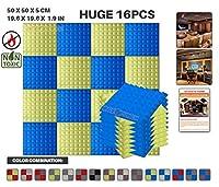 エースパンチ 新しい 16ピースセット青と黄 500 x 500 x 50 mm ピラミッド 東京防音 ポリウレタン 吸音材 アコースティックフォーム AP1034