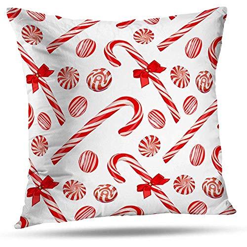 LisaArtikelen Gooi Kussenhoezen, Kerst snoepjes Candy Mint Heldere viering Home Decoratie Rits Kussensloop