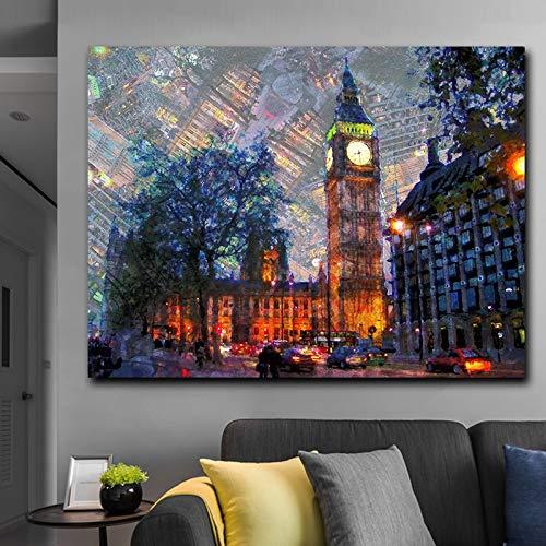 Puzzle 1000 piezas Vista nocturna de Londres mural moderno paisaje de la ciudad de Londres pintura artística puzzle 1000 piezas educa Juegos familiares para adultos divertidos50x75cm(20x30inch)