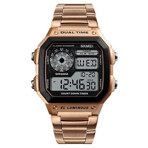 Bandas reloj para hombres, relojes electrónicos cuadrados con pantalla digital, relojes para exteriores movimiento electrónico con botones negocios, relojes pulsera multifunción doble tiempo hombres