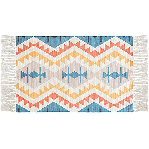 Ukeler Bohemian Bathroom Rug Cotton Printed Kilim Rug Hand Woven Washable Outdoor Doormat 2'×3'