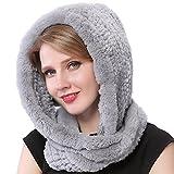 Valpeak Fur Scarves for Women Winter Warm Womens Fashionable Rabbit Fur Scarf Knitted Fur Neck Warmer (Snowtop)