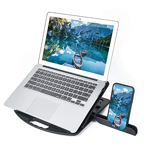 Heacoz Laptop Stand, Ergonomic Computer Stand for Desk, Adjustable Laptop Riser with Heat-Vent, Multi-Angle Holder Compatible with MacBook Air/Pro, Dell, HP, Lenovo, More 10-15.6' Laptops (Black)