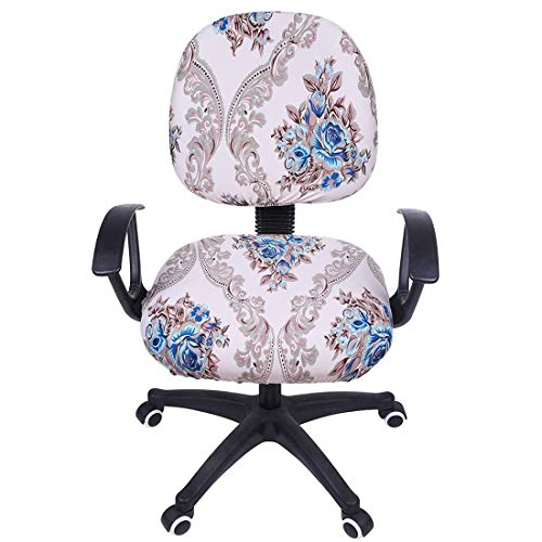 Smiry Stretch Print Computer Office Chair Cover, Removable Washable Universal Desk Rotating Chair Slipcover, Beige