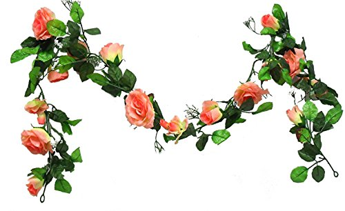 Ella and Lulu Dessign 11-ft of Rose Bloom Garland for Special Events Indoor & Outdoor Home Garden, Mother's, Anniversary, Christmas Day Wedding, One Size Wall Décor, Peach Silk Flower Arrangements