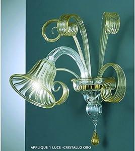 Aplique 1luz cristal dorado de cristal de Murano