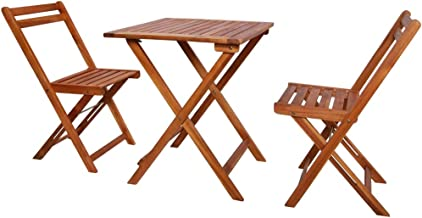 vidaXL 3 Pieces Solid Acacia Wood Folding Bistro Set Weather Resistant 2 Chairs and 1 Table Garden Lounge Set Outdoor Pati...