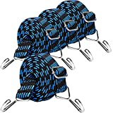 Bungee Cords, 4 Pack 80 inch Heavy Duty Adjustable Long Bungee Straps with Hooks, 1 inch Width Elastic Rubber Flat Bungee Cords Rope with Metal Hooks for Camping, Bikes, Cars, Luggage Rack