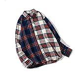 Camisa de Cuadros a Juego de Color Hermoso de Moda de Estilo Coreano Masculino Camisa de Manga Larga Tipo botón de Personalidad de Solapa de Moda de Primavera y otoño XL