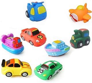 TOYANDONA 8 Pcs Vehicle Bathing Toys Water Floating Soft Aircraft Boat Car Train Model Toy Quick Dry Bathtub Nursery Toy f...