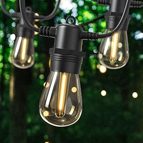Guirnalda Luces Exterior 31m, GlobaLink S14 Cadena de Luces LED Conectable 102ft con 30+2 Bombillas IP65 Impermeable, Energía Ahorrada para Decorar Fiesta Navidad Boda en Jardín Patio-Blanco Cálido