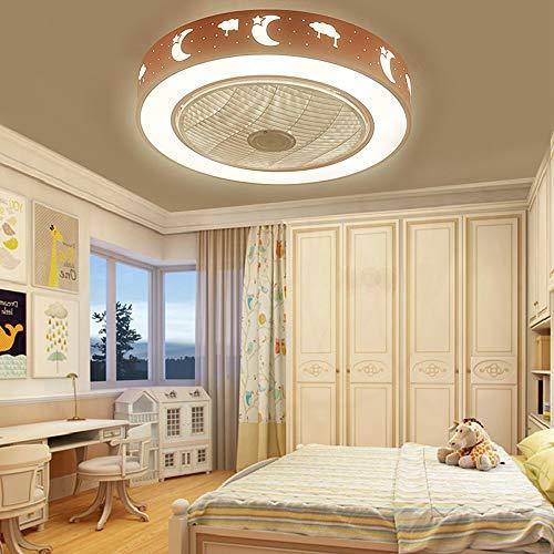 Ganeep Luz de techo con ventilador creativo Luz de techo rosa redonda y moderna Lámparas silenciosas de ahorro de energía Ventilador...