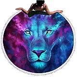 Sticker Superb 3D Loup et Lion Ronde Tapisserie Plage Serviette Yoga Mat Nappe Couverture de Plage,Voyage,Escalade en Montagne,en Plein Air,Lit (Star Lion, 150cm)