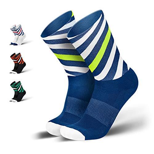 INCYLENCE Curls Sportsocken lang, leichte Running Socks mit Anti-Blasenschutz, atmungsaktive Laufsocken, Compression Socks, blau weiß neongelb, 39-42