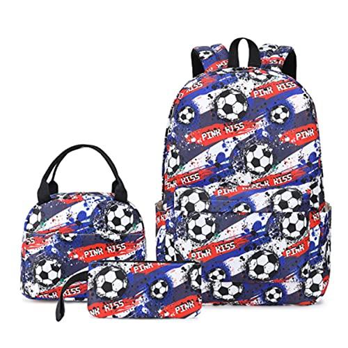 Juego De 3 Piezas Impresión De Fútbol Niños Mochila De Gran Capacidad para 7-14 Años A-44 * 30 * 16cm