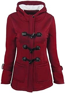 Women's Casual Double Breasted Blended Classic Pea Coat Jacket Winter Warm Jacket Hoodie Coat Size M (Light Grey)