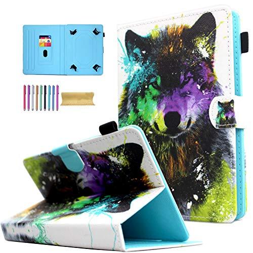 Universal 10' Case, AMOTIE PU Leather Magnetic Kickstand Cover for iPad 10.2 2019 2020,iPad 9.7 2018 2017,iPad 2/3/4,iPad Air 2 1,Air 10.5,Galaxy Tab E 9.6,Tab S3,Tab A,Nexus 9, Colorful Wolf