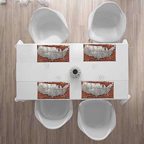 Platzsets(4er Set),USA Karte, Cement Cracking Amerikanischer Kontinent überRutschfest Abwaschbar Tischsets,Abgrifffeste Hitzebeständig Platzdeckchen,Schmutzabweisend Platz Matten für Küche Speisetisch