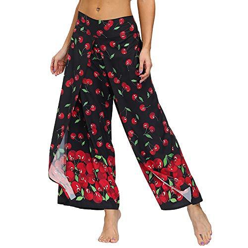 Nuofengkudu Mujer Cintura Alta Hippie Largo Pantalones Dividir Pata Ancha Boho Flores Estampados Elegantes Anchos Comodos Thai Fluidos Yoga Pants Verano Playa Vacaciones Casual(Negro Rojo,M)