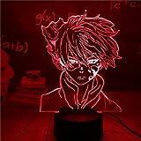 My Hero Academia Luz de noche 3D para niños, Deku Lámpara de escritorio LED de 16 colores, Luz de noche de dormitorio táctil y remota para niños, niñas, adolescentes, cumpleaños, regalo de Navidad