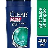 Shampoo Anticaspa Clear Men Limpeza Diária 2 em 1 400 ML, Clear