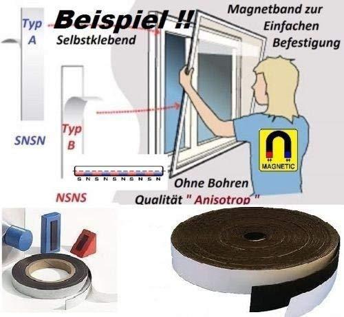 Magnetband selbstklebend Typ A + Typ B - 1,5mm x 12,7mm x 8 Meter - Qualität
