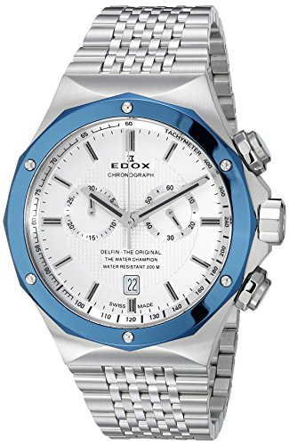 Edox Men's 10108 3BU AIN Delfin Analog Display Swiss Quartz Silver Watch