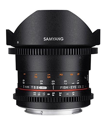 Samyang F1322401101 - Objetivo para vídeo VDSLR para Canon EF (Distancia Focal Fija 8mm, Apertura T3.8-22 UMC, Ojo de pez, CSII), Negro