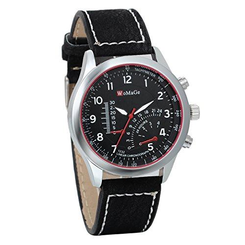 JewelryWe Herren Quarz Uhr Armbanduhr Herrenuhr Einzeigeruhr Leder Armband,24H Digital Zifferblatt Temperaturanzeige, Schwarz