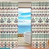 SKYDA – Juego de 2 cortinas de estilo étnico para cortinas de salón, 198 cm de largo, poliéster, Multicolored, 55'W x 84'L