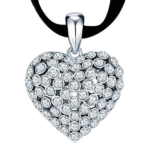 Lulu & Jane Damen-Velourlederkette Herz verziert mit Kristallen von Swarovski® weiß 40 + 7,5 cm - Herzkette Halskette mit Anhänger Herz Dirndl-Halsschmuck