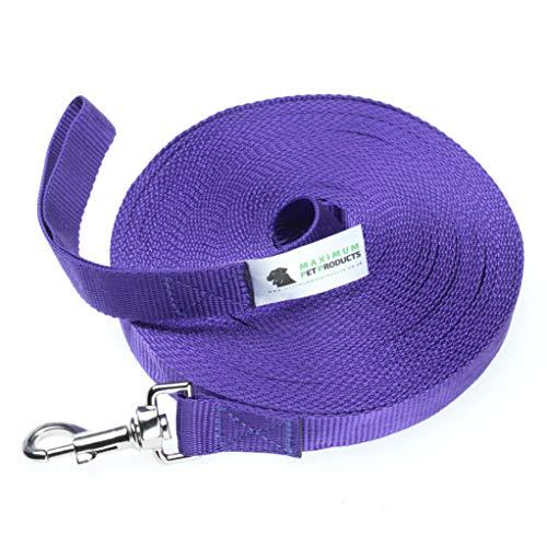 Hundeleine, 20 m, 25 mm breit, sehr robust, Violett