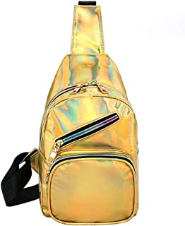 chinatera Waterproof Bag, Bright Leather Shoulder Handbags Waist Phone Packs Unisex Chest Bags