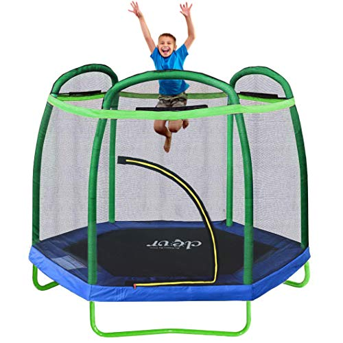 "Clevr 7ft Kids Trampoline with Safety Enclosure Net & Spring Pad, Mini Indoor/Outdoor Round Bounce Jumper 84"", Built-in Zipper Heavy Duty Steel Frame,Green/Blue, Great Gift for Kids"