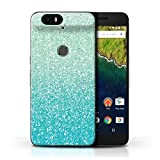Phone Case for Huawei Nexus 6P Glitter Pattern Effect Mint Ombre Design Transparent Clear Ultra Slim Thin Hard Back Cover