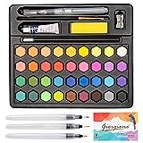 Acuarelas Profesionales Caja de Acuarelas 36 Colores, Set de Pintura de Acuarelas con 5 Pinceles de Acuarelas Papeles y Más Accesorios de Pintura, para NiñosAficionados y Artistas Profesionales