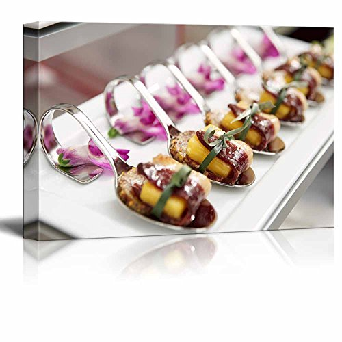 Canvas Prints Wall Art - Canapes with Cured Ham (Jamon or Prosciutto) on Banquet Table | Modern Wall Decor/Home Art Stretched Gallery Wraps Giclee Print & Wood Framed. Ready to Hang - 32