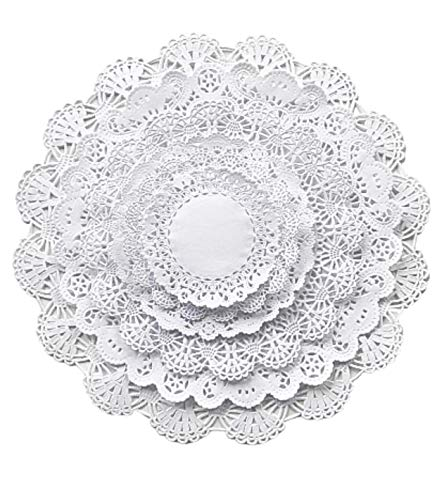 White Round paper Lace Table Doilies 4 5 6 8 10 and 12 inches Assorted Sizes (Variety pack of 120 - 20 of each)