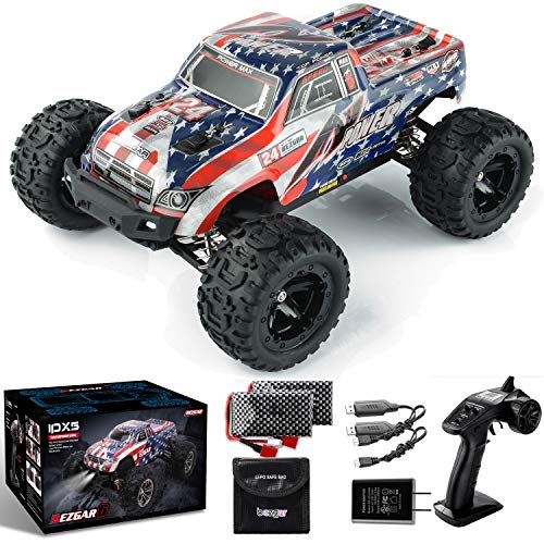 BEZGAR 6 Hobbyist Grade 1:16 Scale Remote Control Truck, 4WD High Speed 42 Km/h All Terrains Electric Toy Off Road RC Monster Vehicle Car with 2 Rechargeable Batteries for Boys Kids and Adults
