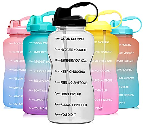 Venture Pal Large 1 Gallon/128 OZ (When Full) Motivational BPA Free Leakproof Water Bottle with Straw & Time Marker Perfect for Fitness Gym Camping Outdoor Sports-Clear-Black