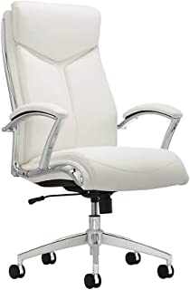 Realspace Verismo Bonded Leather High-Back Chair, White/Chrome