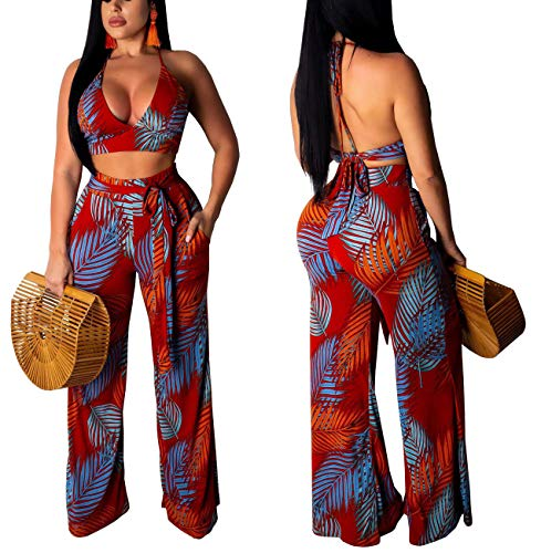 Women Casual Floral Summer 2 Piece Outfits Sexy V Neck Halter Bandage Crop Top Swimsuit Loose Comfy Wide Leg Palazzo Long Pants Tropical Jumpsuits Backless