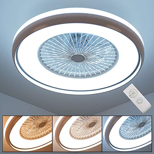 LED Decken Ventilator FERNBEDIENUNG Tages-Licht Lüfter Lampe 3-Stufen Kühler Leuchte dimmbar