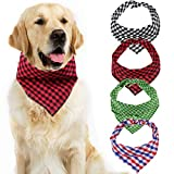 EAONE Dog Bandana 4 Packs, Triangle Style <span class='highlight'>Plaid</span> Dog Scarf Collar Cotton Puppies Kerchief Bibs for Small Medium Large Breed Dogs Girl and Boy, Black-Red, Black-White, <span class='highlight'>Green</span>-White, Blue-Red