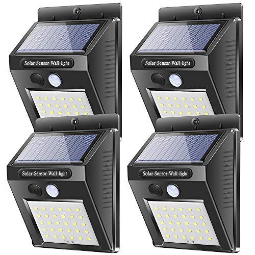 Solarleuchten Solar Wandleuchte mit Bewegungsmelder, Karrong 30 LED Solarlampen für Außen Garten, IP65 Wasserdicht LED Solarlampe Solarleuchte, 4 Stück