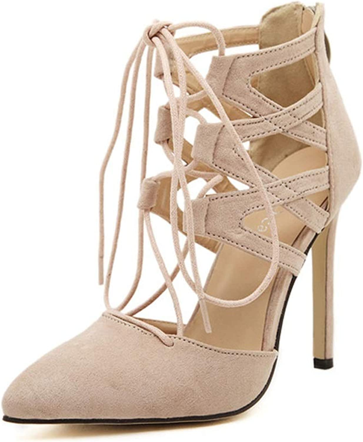Women's Stilettos Pointed Toe Straps Strappy Pump Heels Dress Party Suede Pointed Strap Sandals Black Beige (color   A, Size   36)